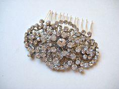 Bridal luxury swarovski crystal jewel wedding headpiece/haircomb.  GLAMOROUS VINTAGE.. $47.00, via Etsy.