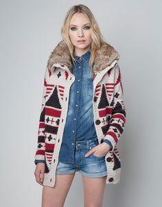 Bershka Slovenia - Bershka chunky knit jacket (fake fur) Fake Fur e98cd9b27