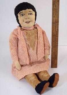 1800s ANTIQUE CLOTH RAG DOLL FOLK ART w/SCULPTED STITCHED FACE & ORIG CLOTHES  | eBay