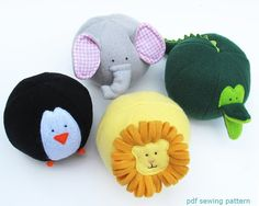 Zoo Friends Toy Balls PDF sewing pattern on etsy Baby Crafts, Felt Crafts, Crafts For Kids, Sewing Toys, Sewing Crafts, Sewing Projects, Sewing Patterns Free, Free Pattern, Toy Craft