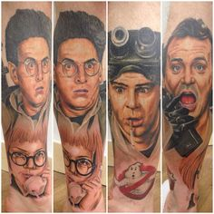 Ghost Busters Tattoo By Chis Jones The Real Ghostbusters, Fan Tattoo, Tattoo Skin, Leg Tattoos, Sleeve Tattoos, Marshmallow Man Ghostbusters, Beautiful Tattoos, Beautiful Body, Tatoo