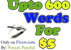 prateek panchal will write up to 600 words of Unique and PLAGIARISM Free Content for $5, on http://fiverr.com/prateekp/provide-up-to-600-words-blog-article