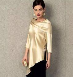 Vogue Misses' Tunic and Pants Vogue Patterns, Dress Patterns, Sewing Patterns, Satin Blouses, Blouse Outfit, Blouse Designs, Toms, Fashion Dresses, Tunic