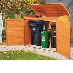 This outdoor home refuse organizer combines function with fashion to keep trash and recycling bins organized and tidy. An efficient home waste system which enhances the beauty of any outdoor space and