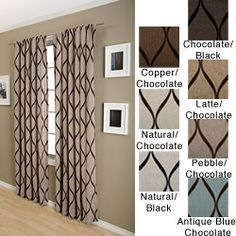 @Overstock.com - Sahara Rod Pocket 120-inch Curtain Panel - This 120-inch rod-pocket curtain panel is made of polyester and nylon and features a modern flocked design. It is available in several background colors with chocolate design patterns, and features a rod pocket for easy hanging in your home.  http://www.overstock.com/Home-Garden/Sahara-Rod-Pocket-120-inch-Curtain-Panel/4155117/product.html?CID=214117 $57.99
