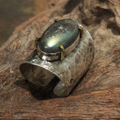 Chunky labradorite statement ring with by Metal Studio Thailand.  http://metal-studio-thailand.com