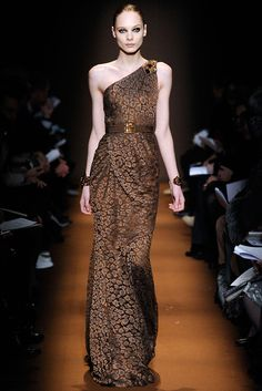 Fall 2009 Ready-to-Wear Andrew Gn animal print gown one shoulder