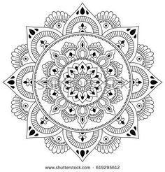 Circular pattern in form of mandala for Henna, Mehndi, tattoo, decoration. Decorative ornament in ethnic oriental style. Coloring book page. Mandala Doodle, Mandala Art, Croquis Mandala, Mandala Drawing, Doodle Art, Pattern Coloring Pages, Coloring Book Pages, Circular Pattern, Mandala Pattern