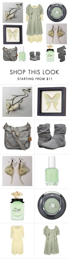 """""""Moth in the Mist"""" by maggiehemlock ❤ liked on Polyvore featuring Frye, Report, Dolce&Gabbana, Lancôme, WearAll, GUINEVERE and Trasparenze"""