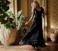 PANDORA DRESS -- BLACK | DÔEN Liberty Fabric, Vintage Inspired Dresses, Dress Silhouette, Dress Making, Ruffles, Summer Outfits, Summer Clothes, Pandora, My Style