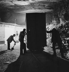 Art treasures from the National Gallery are moved to Manod Quarry slate caverns in Merionethshire Wales for safekeeping during World War II September 1942.