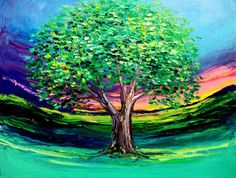 Story of the Tree 53 - 18x24 Landscape oil painting original art by Aja