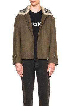 Image 1 of Gosha Rubchinskiy Hoodies Wool Jacket with Faux Fur Collar in Brown