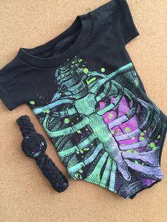 Upcycled TShirt Baby Bodysuit Set / Skeleton by craftinistagirl