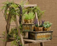Measure Up Pair of Nested Yard Stick Planter Boxes Primitive Country Style
