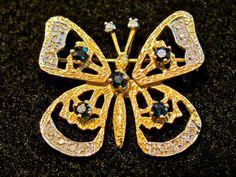 Vintage Fine Jewelry 14K Yellow Gold Genuine Sapphire & Diamond Figural Butterfly Brooch Pin ~ Marked Heirloom Piece