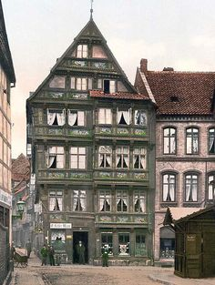 You are viewing a rare image of Rolands Hospital, Hildesheim, Hanover, Germany. This color photochrome print was taken between 1890 and 1900 in Hanover, Germany.