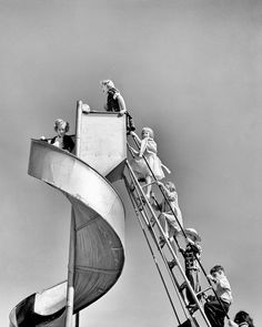 Great slide & lots of fun...not in the summer when the metal was hot, though. Fred Lyon: San Francisco City Photography, Vintage Photography, Children Photography, Monochrome Photography, Foto Picture, Picture Show, San Francisco Zoo, Black And White City, Picture Credit