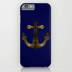Yellow Gold sparkles Anchor on Dark navy blue Samsung Galaxy, iPhone & iPod Case by #PLdesign #SparklesAnchor #GoldSparkles #SparklesGift