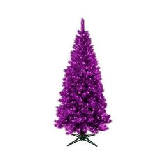 7ft Pre-Lit Artificial Christmas Tree Translucent Amethyst featuring polyvore home home decor holiday decorations purple purple home accessories purple home decor