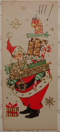 UNUSED - Glittered - Santa Claus w/Gifts - 50's Vintage Christmas Greeting Card