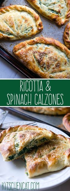 Ricotta and Spinach Calzones. A cheesy vegetarian calzone to substitute into your pizza routine! Thanks to Kitschen Cat