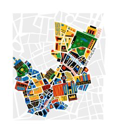 M♥ Milan map Illustration Vector, City Illustration, Illustrations, Map Design, Book Design, Milan Map, Map Logo, Map Projects, Flyer