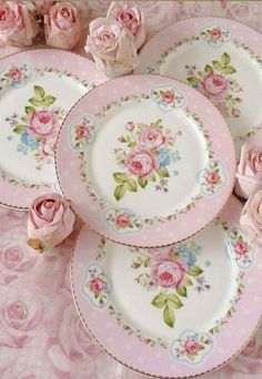 Shabby Chic Dinner Plates, Pink and White with Pink Roses and Green Leaves in Center