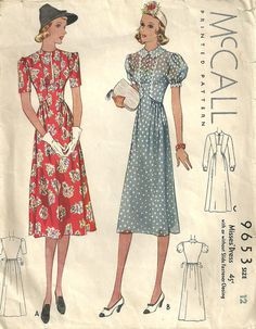 30s 40s red floral white dot sheer print swing war era McCall 9653 Vintage 1930s Sewing Pattern Dress by studioGpatterns, $28.50