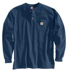 Carhartt Workwear Henley Shirts for Men - Long-Sleeve -  Navy - M