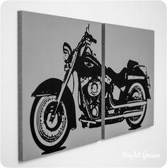 Harley Davidson Motorcycle Screen Print in Custom Colors - Gift for Him. $45.00, via Etsy.