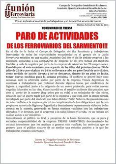 CRÓNICA FERROVIARIA: Línea Sarmiento: Paro de actividades por 24 horas