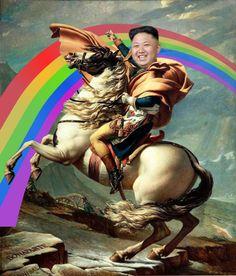 Kim Jong Un auf dem Pferd Meme