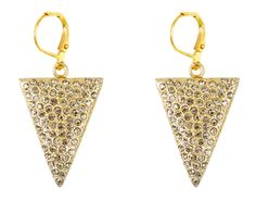 Gold Nador triangle earrings with BD crystals