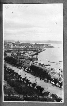 La Coruña - Avenida de la Marina y kioscos, 1900-1915 foto:Villar
