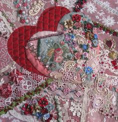 I ❤ crazy quilting, beading & ribbon embroidery . . . Crazy quilt block with, lots of lace, ribbon flowers & hearts. ~By Maureen Greeson