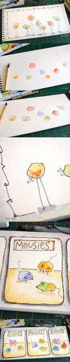 Neat idea for water colors doodles. Or thumbprint doodles. Doodle Art, Art For Kids, Crafts For Kids, Diy Crafts, Fabric Crafts, Paper Crafts, Funny Birds, Art Plastique, Teaching Art