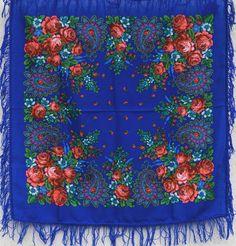 "Russian Pavlovsky Posad shawl  ""Southern night"" ""Южная ночь"""