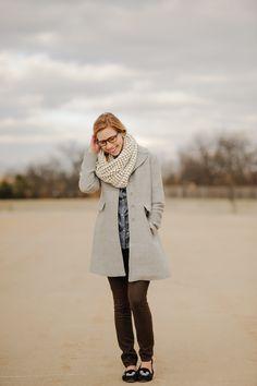 chunky scarf, brown pants and chambray shirt