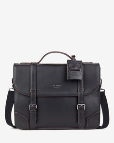 Leather contrast corner briefcase - Black | Bags | Ted Baker