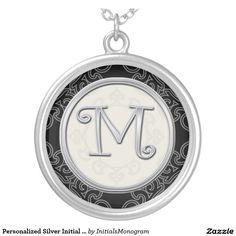 Personalized Silver Initial Pendant Necklace::M