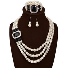 IYOCHO Three Layer Pearl Diamond Collar Necklace Earrings Set * Continue to the product at the image link.