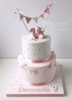 Inspiration Picture of Baby Girl First Birthday Cake . Baby Girl First Birth… Inspiration Picture of Baby Girl First Birthday Cake . Baby Girl First Birthday Cake Pink Polka Dot First Birthday Cake With Teddy Bunting Detail 1st Birthday Cake For Girls, Baby Birthday Cakes, Birthday Ideas, Baby Shower Cake For Girls, Ballerina Birthday, Birthday Month, Fondant Birthday Cakes, 1st Birthday Cake Designs, Baby Shower Bunting