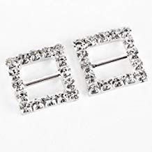 5 Pairs 30mm Rectangle Crystal Diamante Slider Buckle Ring Ribbon Dress Craft
