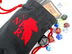 NERV Bag -Dice Bag, Tarot Bag, Accessory Bag, Gaming Bag, Neon Genesis Evangelion, NGE, NERV, Red, Black, anime