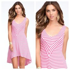 New bebe hi low stripe chevron dress❤❤❤ With a fresh design chevron front, ultra soft fabric and flirty high-low hem, this striped dress bebe is severe summer essential. Your test with a pair of Cork wedges and a supersized tote to complete the look. Size s bebe Dresses