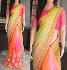 Lemon Yellow and Neon Green Shaded Soft net pallu having jari butis all over paired up with Sea Pink and Orange Shaded heavy work Soft net pleats having Jari flowers all over. Finished with Gold Jari Border and Pink Raw silk Piping through out the Saree.Blouse : Pink Raw silk With border for HandsPrice : 4300/-To buy this saree please contact us at purandhistore@gmail.comOr What s app : 9063534017 27 October 2016