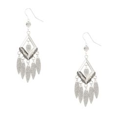 """<P>Decorate your ears with thes sparkly drop earrings. Silver Diamond with feather designs hands from round crystal. Long glitter marquis cut pieces hang from the diamond for extra dazzle. </P><UL><LI>Silver tone finish<LI>Fishhook attachment<LI>2""""/5 cm</LI></UL>"""