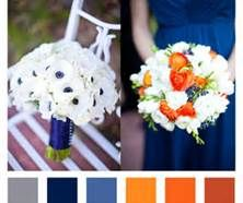 navy blue, gray, and orange wedding ideas - Click on image- Lots of pics of color schemes