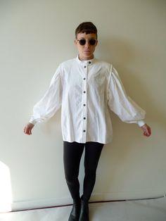 jeanne marc white poet sleeve shirt